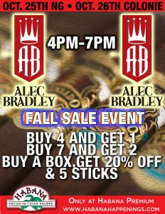 Alec Bradley Sale Event! @ Both Locations!
