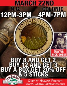 Foundation Cigar Sale Event! @ Habana Premium Cigar Shoppe