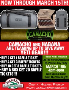 Camacho YETI Gear Giveaway! @ Habana Premium Cigar Shoppe North Greenbush